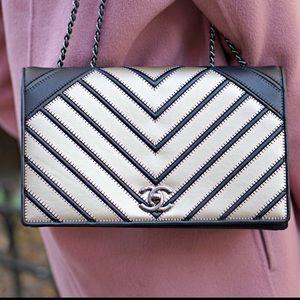 Rare Chanel! Gold & black chevron. 100% authentic!